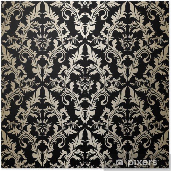 Plakát Bezešvé retro tapety - stříbrný ornament na černém podkladu. - Pozadí