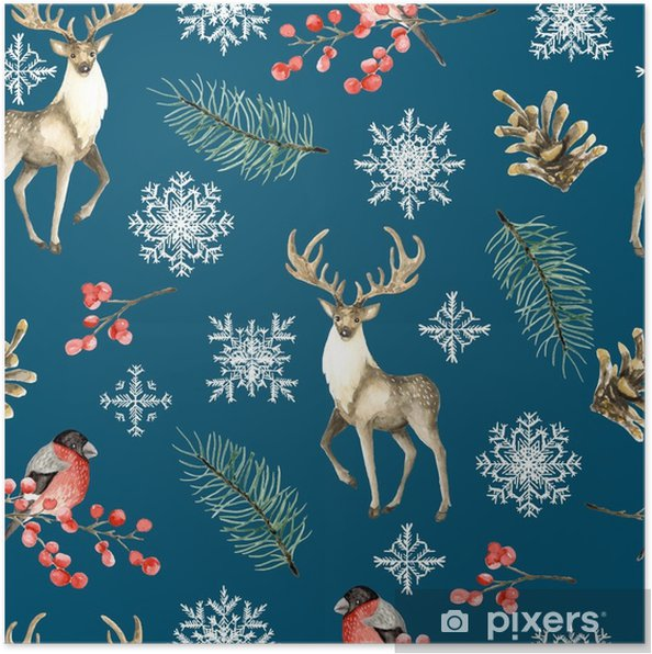 Plakát Bezešvé vánoční vzorek s jelenem a břízy. akvarel ručně kreslený - Kultura a náboženství