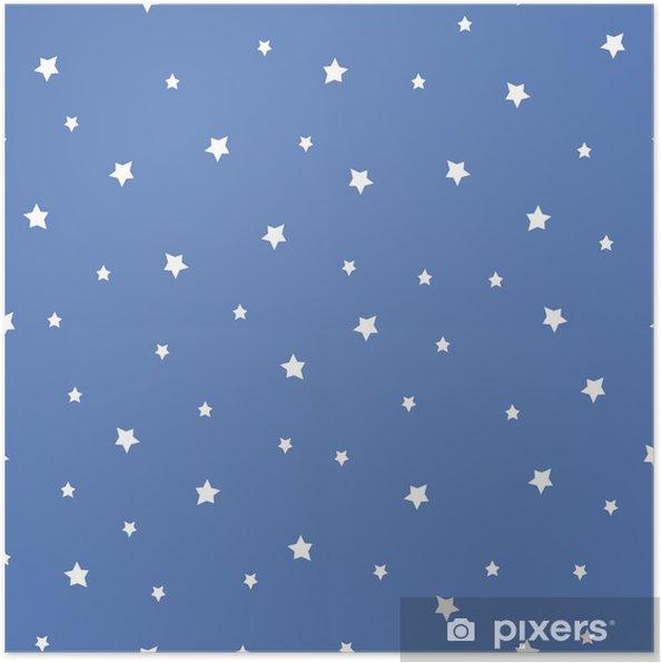 Plakát Bezešvé vzor s hvězdami na modrém pozadí. Noční oblohy přírodě ilustrace. Roztomilé miminko pozadí. - Krajiny