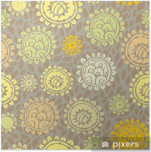 Plakát Bezešvé vzor s květinami. fulva - Květiny