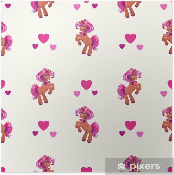 Plakát Bezešvé vzor s roztomilý kreslený malý kůň • Pixers® • Žijeme ... 92ab8383b13