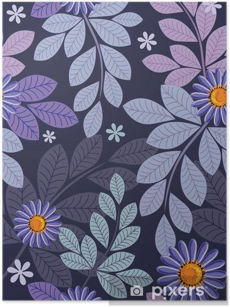 Plakat Bezszwowe tle kwiatów - Tła