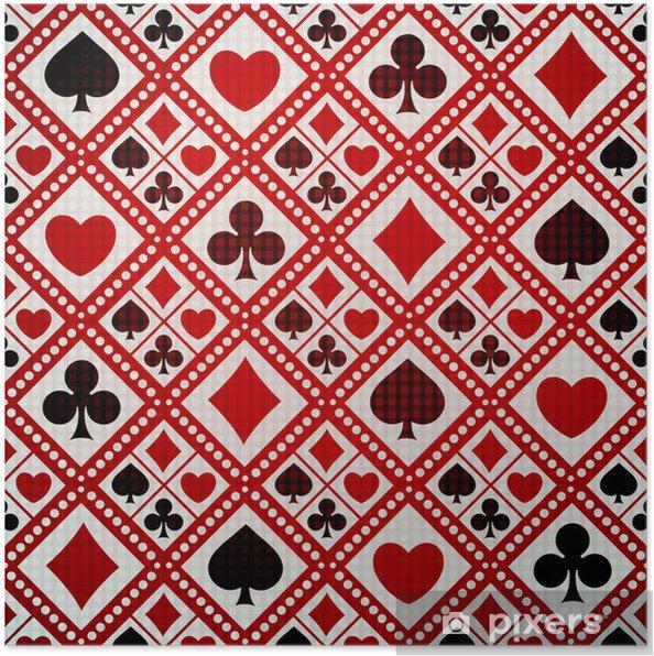 Plakat Bezszwowe tło karty gry garnitury - Rozrywka