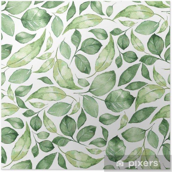 Plakat Bezszwowy wzór z pięknymi zielonymi akwarela liśćmi 4 - Zasoby graficzne