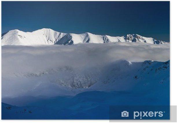 Plakat Biała zima panorama niebieski - Góry