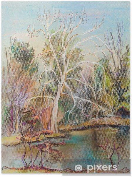 Plakat Białe drzewo - Krajobraz wiejski
