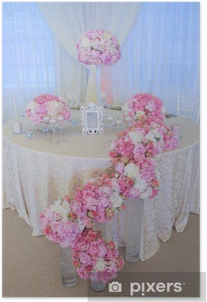 Plakat Białe i różowe kwiaty ślubne - Kwiaty