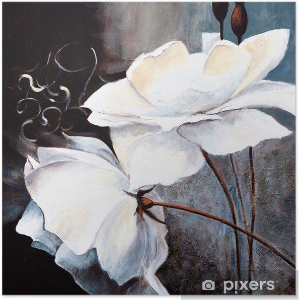 Plakat Białe kwiaty - Sztuka i twórczość