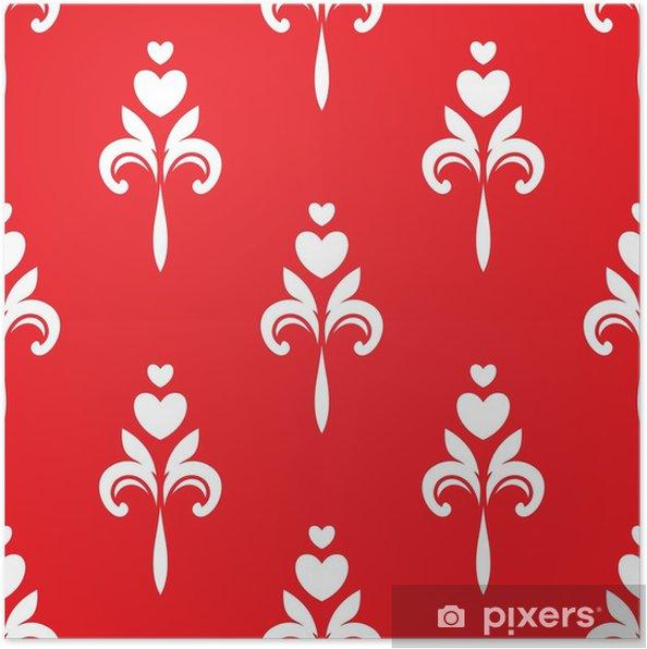 Plakat Białe serca ozdoby na czerwonym tle - Zasoby graficzne