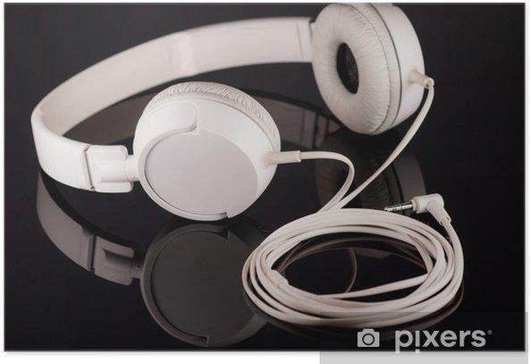 Plakat Białe słuchawki - Muzyka