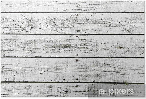 Plakat Białe umyte deski - Tekstury