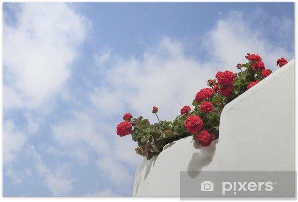 Plakat Białe wapno balkon z czerwonych pelargonii. - Dom i ogród