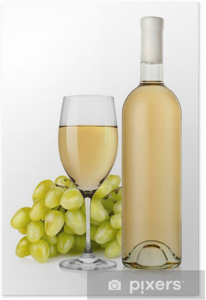 Plakat Białe wino i winogron - Alkohol