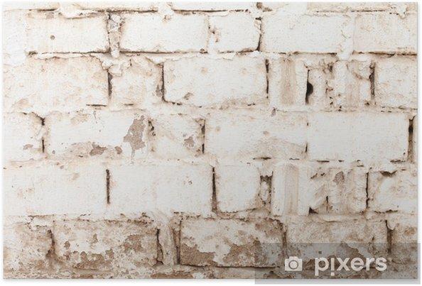 Plakat Biały mur z cegły - Tekstury