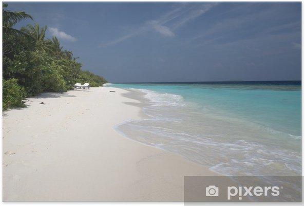 Plakat Biały plaży Malediwach - Wakacje