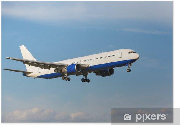 Plakat Biały samolot pasażerski odrzutowiec - Europa