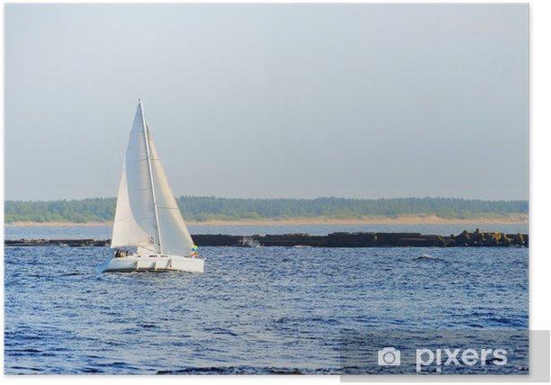 Plakat Biały żeglowanie jacht żaglowy. Ryga, Łotwa - Transport wodny