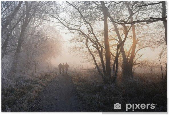 Plakat Bieganie w zimie w lesie - Sporty indywidualne