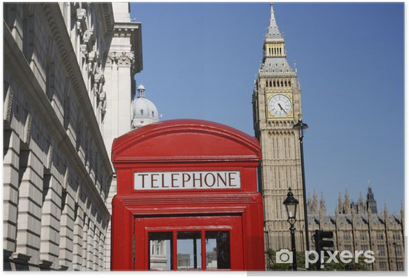 Plakát Big Ben a Red Telefon Booth - Témata