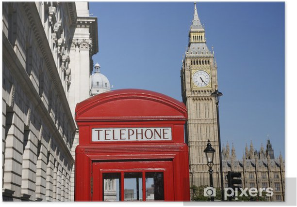 Plakat Big Ben i czerwone budka telefoniczna - Tematy