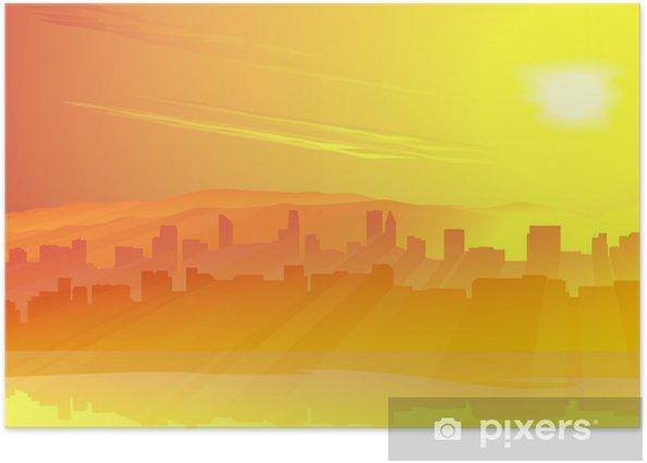 Plakat Big city of Skyscrape przed wschodem słońca - Niebo