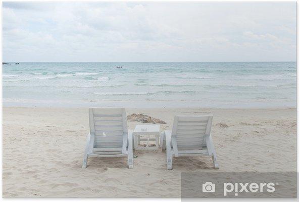 Plakát Bílé lavičky a stoly. - Prázdniny