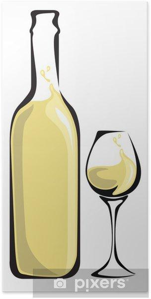 Plakát Bílé víno láhev se sklem - Alkohol