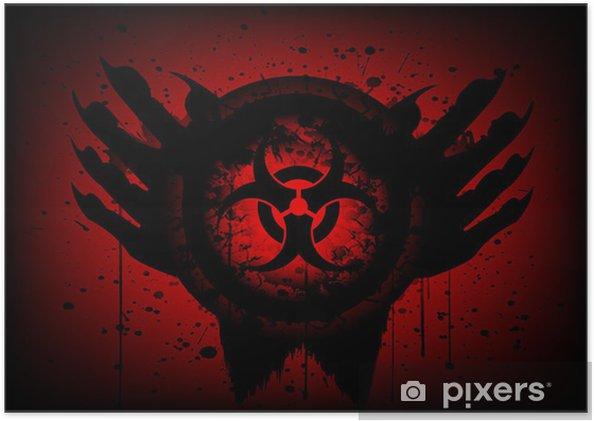 Plakat Biohazard symbol na koła i strony abstrakcyjnym tle - Tematy