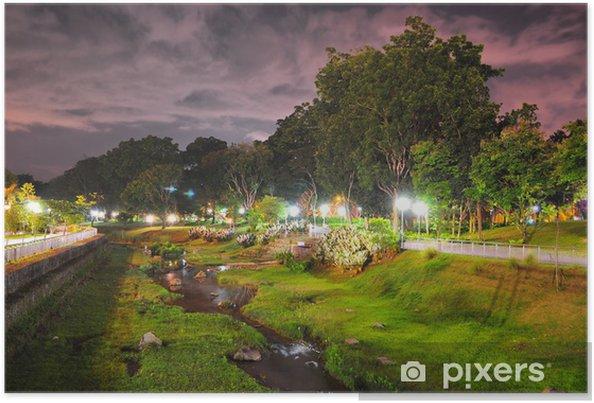 Plakat Bishan Park z zielenią w nocy - Inne pejzaże
