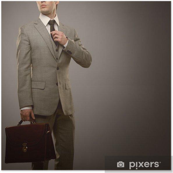 Plakat Biznesmen Z Teczką Samodzielnie Na Szary
