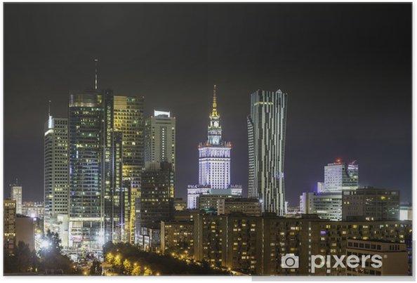 Plakat Biznesowej dzielnicy Warszawy nocą - Tematy