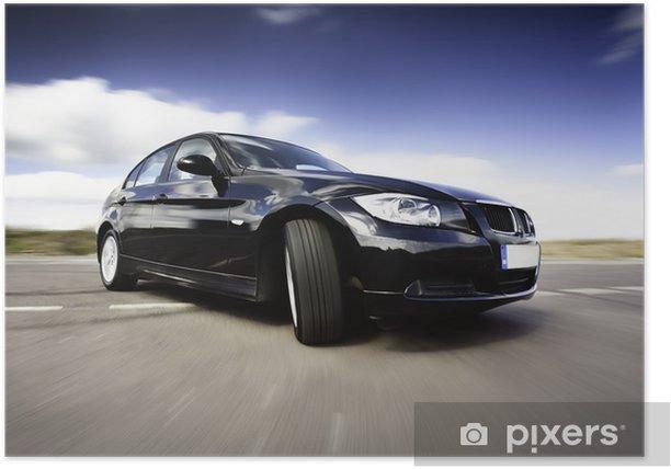 Plakat Black Car In Motion - Krajobraz wiejski
