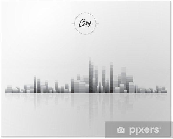 Plakat Black vector cityscapes silhouettes - Budynki przemysłowe i handlowe