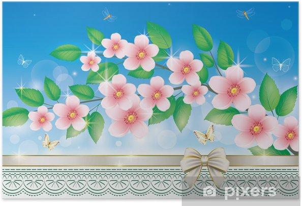 Plakát Blahopřání s květinami - Národní svátky