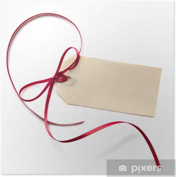 Plakat Blank Tag prezent z czerwoną wstążką - Kartki z życzeniami