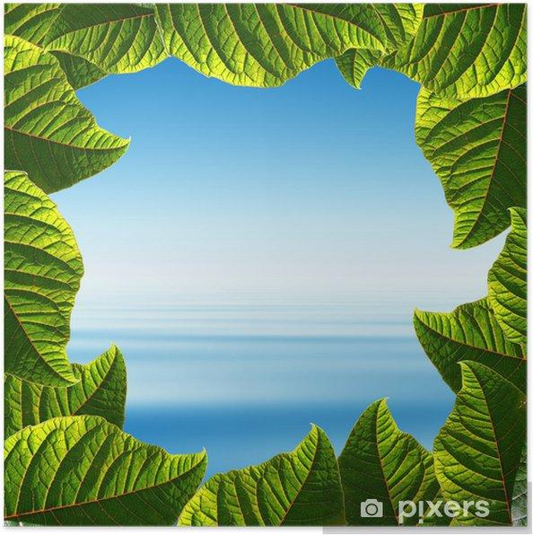 Plakat Błękitne niebo i tropikalnych morza w ramce dla świeżych liści ' - Woda