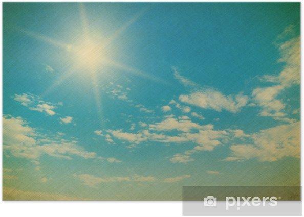 Plakat Błękitne niebo z chmury bliska - Tła