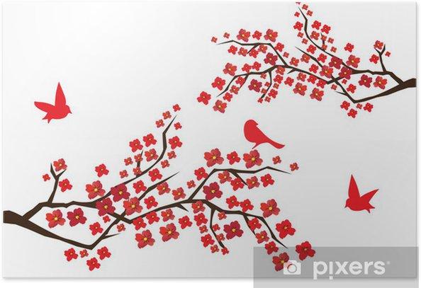 Plakát Bllossom větve s červenými ptáky - Stromy