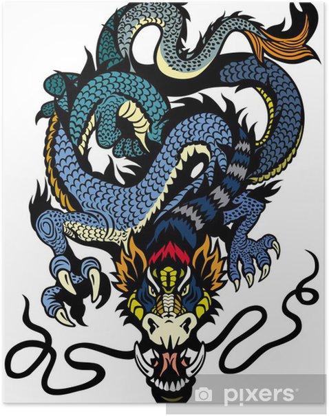 Plakat Blue dragon tattoo - Naklejki na ścianę