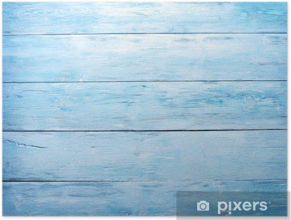 Plakat Blue drewniane tle - Style
