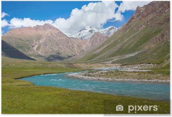 Plakat Blue River i zimowe szczyty gór Tien Szan - Azja