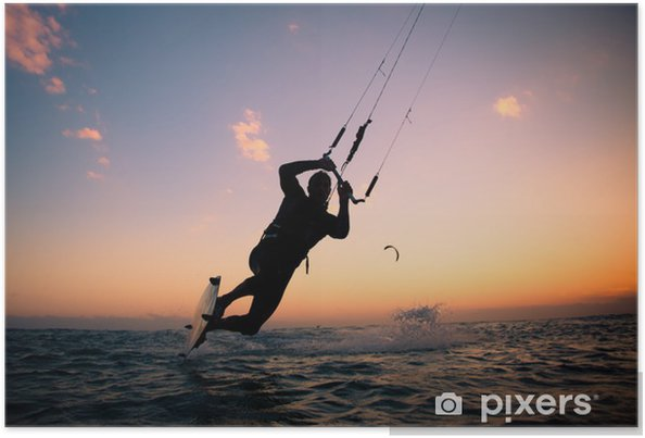 Plakat Boarding Kite. Kitesurfingu freestyle - Sporty wodne