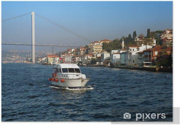 Plakat Boat, Most nad Bosforem i domów na wybrzeżu w Stambule - Tematy