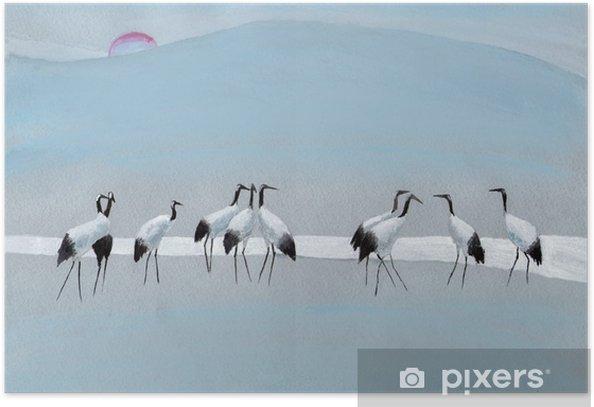 Plakat Bociany na rzece - Hobby i rozrywka