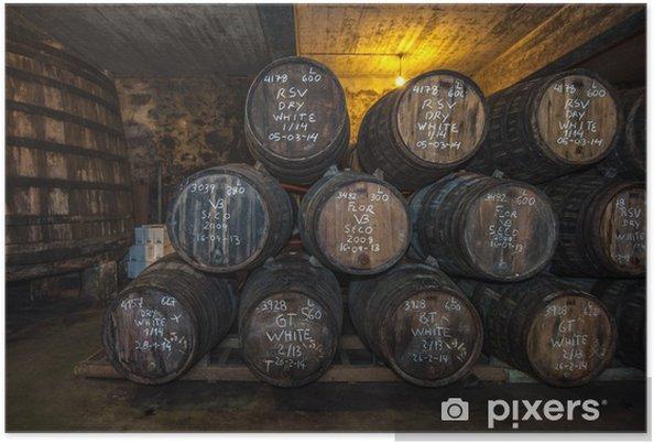 Plakat Bodega Sherry beczkach w Jerez, Hiszpania - Alkohol