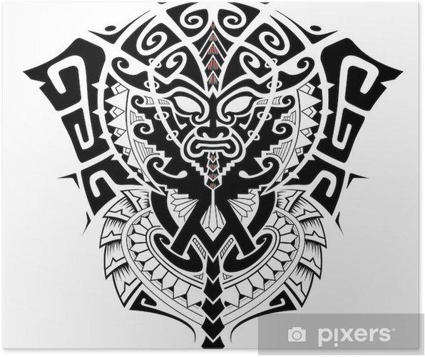 Plakat Boga Plemiennego Z Alfa I Omega Symbol Ilustracji