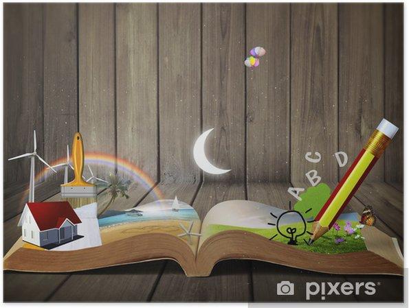 Plakát Book fantasy příběhů, Čtení zářící fantazie knihy - Vzdělávání