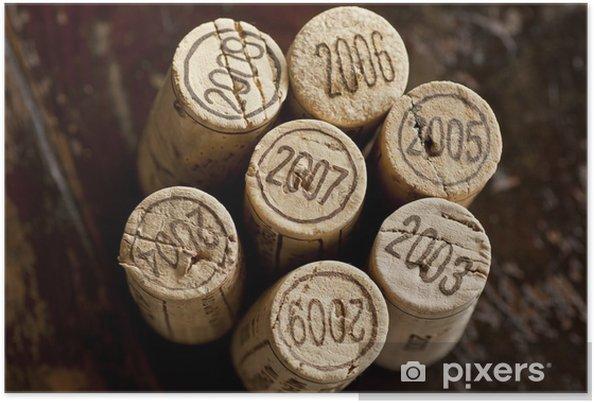 Plakát Bordeaux červené zátky láhev na víno - Jídla