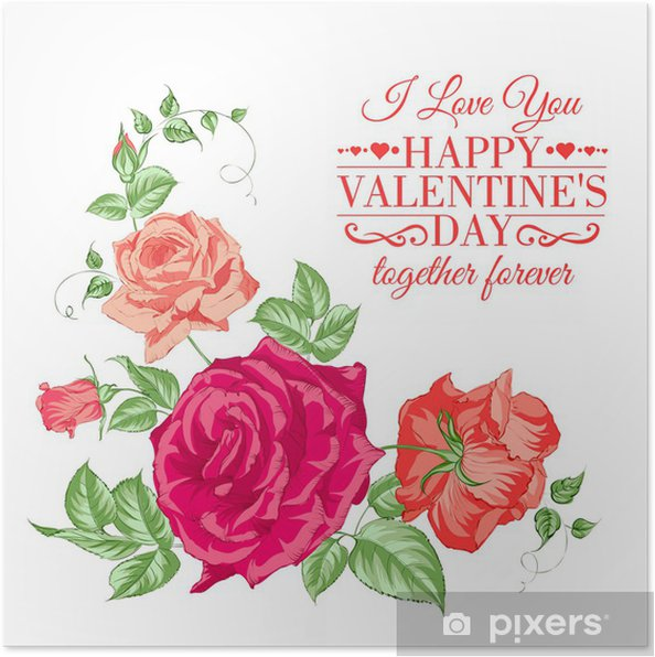 Plakát Bouquet of roses - Květiny