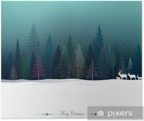 Plakat Boże Narodzenie z jelenia i lasu sosnowego - Święta